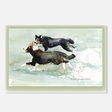Border Collies Running Postcards (Package of 8)