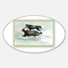 Border Collies Running Oval Decal
