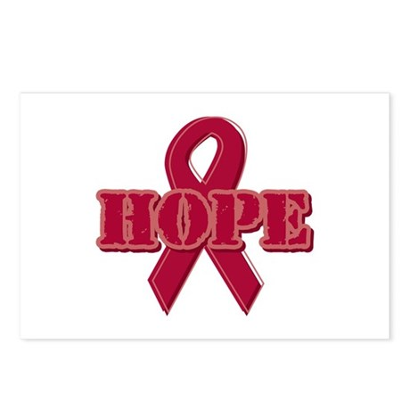 Burgundy Hope Ribbon Postcards (Package of 8)