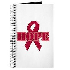 Burgundy Hope Ribbon Journal