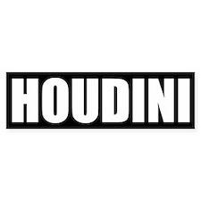 Houdini Bumper Sticker (White on Black)