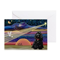 Xmas Star & Cocker (bl) Greeting Card