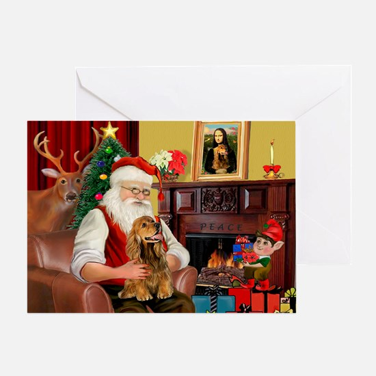Santa's Cocker (bn) Greeting Card