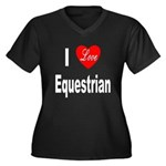 I Love Equestrian (Front) Women's Plus Size V-Neck
