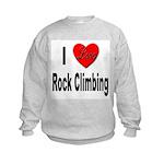 I Love Rock Climbing Kids Sweatshirt