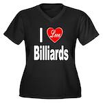 I Love Billiards (Front) Women's Plus Size V-Neck