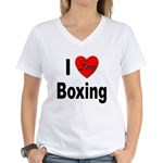 I Love Boxing (Front) Women's V-Neck T-Shirt