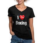 I Love Boxing (Front) Women's V-Neck Dark T-Shirt