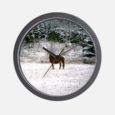 Horse in snow Wall Clock