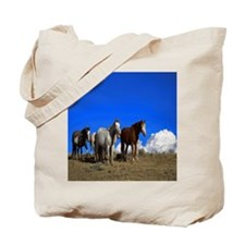 Horses under clear blue sky Tote Bag