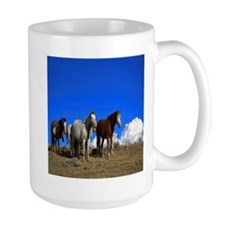 Horses under clear blue sky Mug