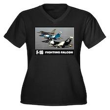 F-16 Falcon Fighter Women's Plus Size V-Neck Dark
