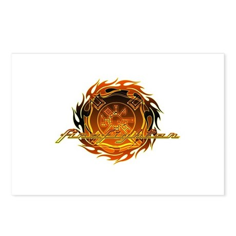 Firefighter with Round Flame Postcards (Package of