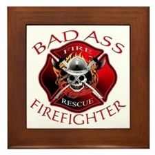 Bad Ass Firefighter Framed Tile