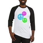 Glowing colorful Peace Signs Baseball Jersey