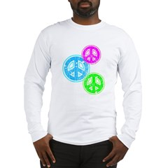 Glowing colorful Peace Signs Long Sleeve T-Shirt