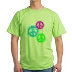 Glowing colorful Peace Signs Green T-Shirt