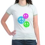 Glowing colorful Peace Signs Jr. Ringer T-Shirt