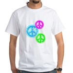Glowing colorful Peace Signs White T-Shirt