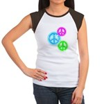 Glowing colorful Peace Signs Women's Cap Sleeve T-