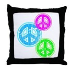Glowing colorful Peace Signs Throw Pillow