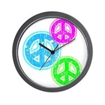 Glowing colorful Peace Signs Wall Clock