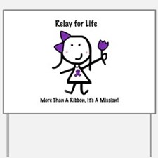 Purple Ribbon - Relay for Life Yard Sign