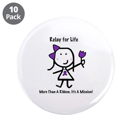 """Purple Ribbon - Relay for Life 3.5"""" Button (10 pac"""