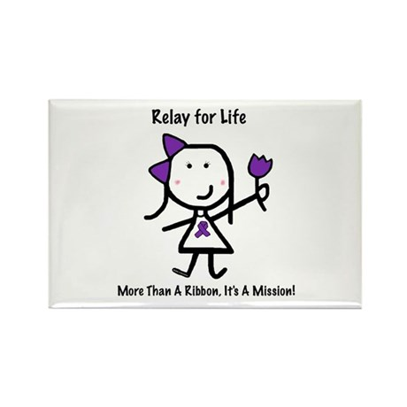 Purple Ribbon - Relay for Life Rectangle Magnet (1