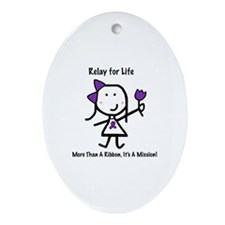 Purple Ribbon - Relay for Life Oval Ornament