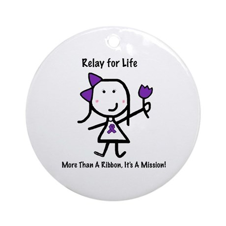 Purple Ribbon - Relay for Life Ornament (Round)