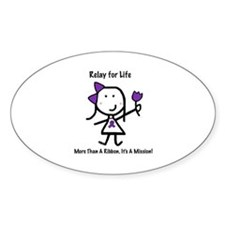 Purple Ribbon - Relay for Life Oval Stickers