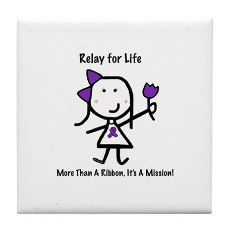 Purple Ribbon - Relay for Life Tile Coaster