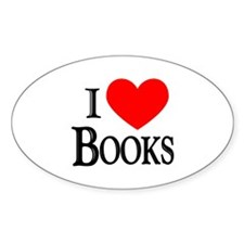 I Love Books Oval Decal
