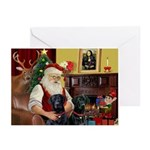 Santa's 2 Black Labs Greeting Cards (Pk of 20)