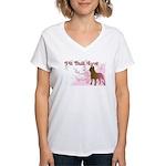 Pit Bull Love Women's V-Neck T-Shirt