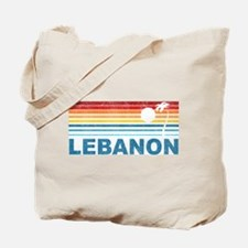 Retro Palm Tree Lebanon Tote Bag