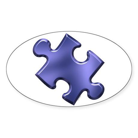 Puzzle Piece Ala Carte 1.4 (Blue) Oval Sticker