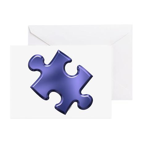 Puzzle Piece Ala Carte 1.4 (Blue) Greeting Cards (
