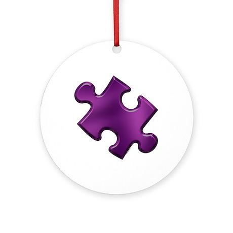 Puzzle Piece Ala Carte 1.6 (Purple) Ornament (Roun