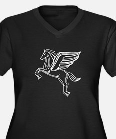 Chasing Pegasus Women's Plus Size V-Neck Dark T-Sh