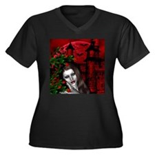 GOTHIC ROSE Women's Plus Size V-Neck Dark T-Shirt