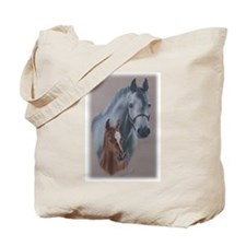 Grey Mare and Chestnut Foal Tote Bag