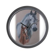 Grey Mare and Chestnut Foal Wall Clock