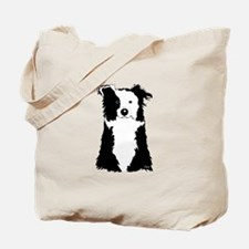 White Border Collie Tote Bag