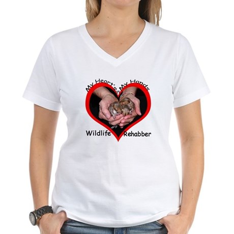 My Heart's in my Hands Squirrel Women's V-Neck T-S