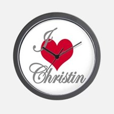 I love (heart) Christin Wall Clock
