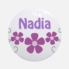 Nadia Pink Flowers Ornament (Round)