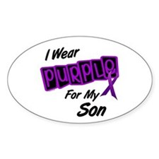 I Wear Purple For My Son 8 Oval Decal