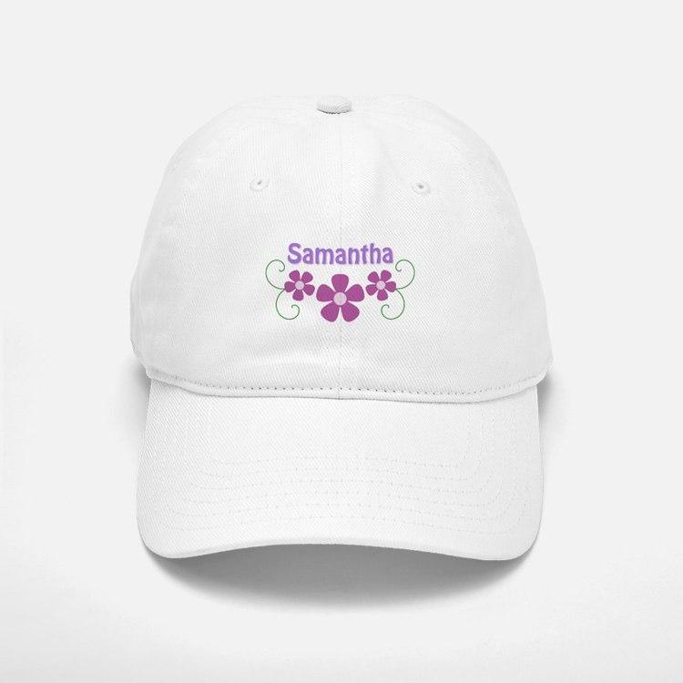 Samantha Pink Flowers Baseball Baseball Cap